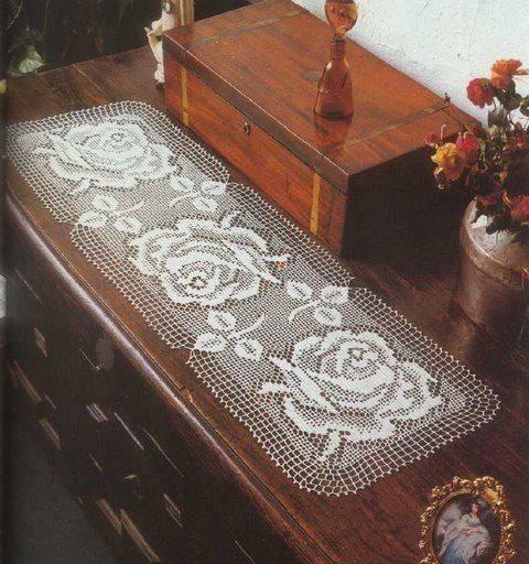 caminho de mesa de croche rosas