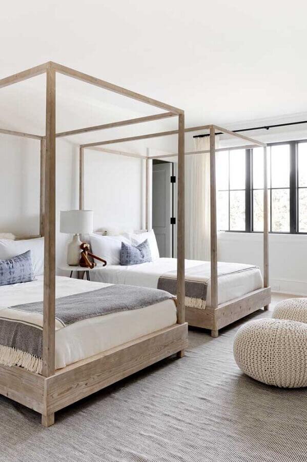 Cama com dossel para decoração de quarto compartilhado simples Foto Decor Fácil