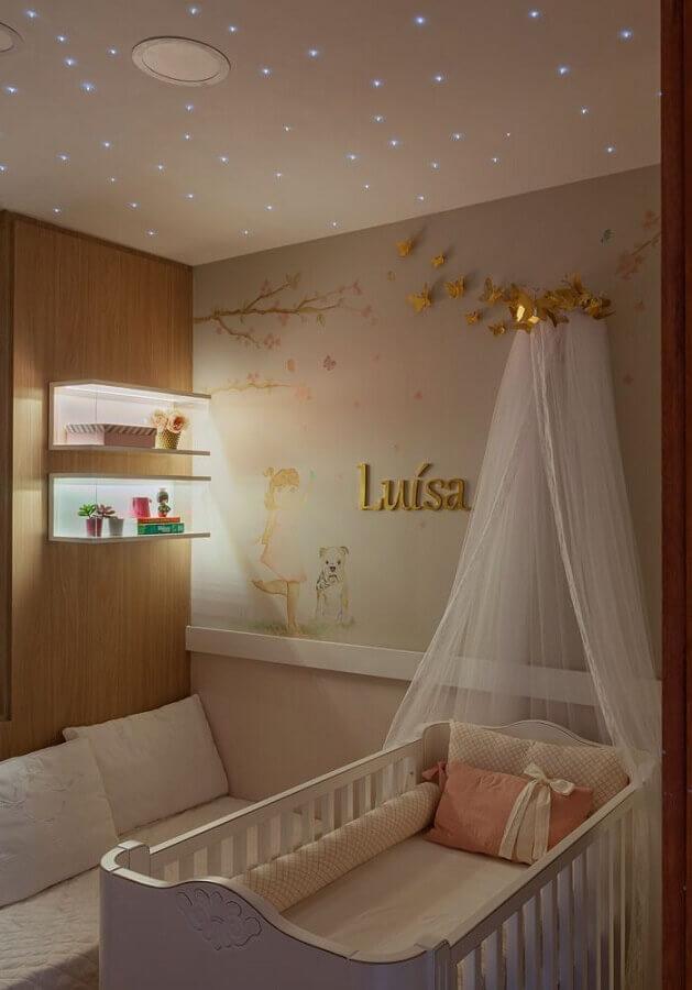 Dossel de parede para decoração de quarto de bebe feminino Foto Barbara Botelho Arquitetura e Interiores