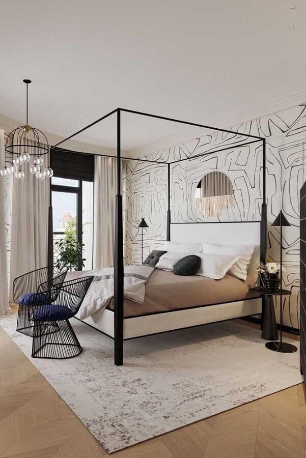 Poltrona moderna para quarto de casal decorado com cama com dossel Foto Behance