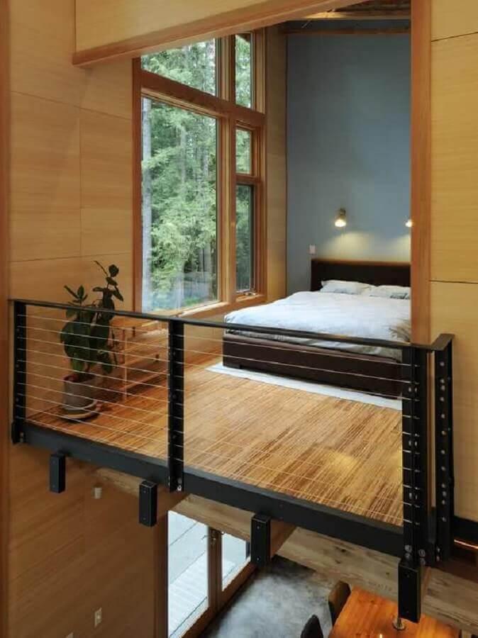 loft com quarto mezanino de madeira Foto Futurist Architecture