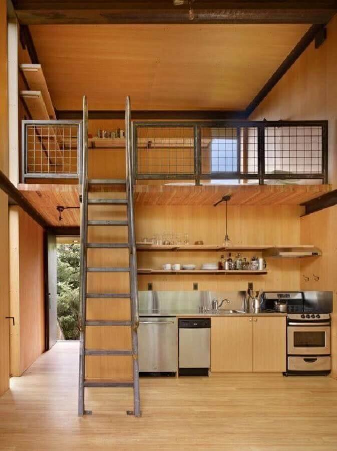 revestimento de madeira para loft decorado Foto Plataforma Arquitectura