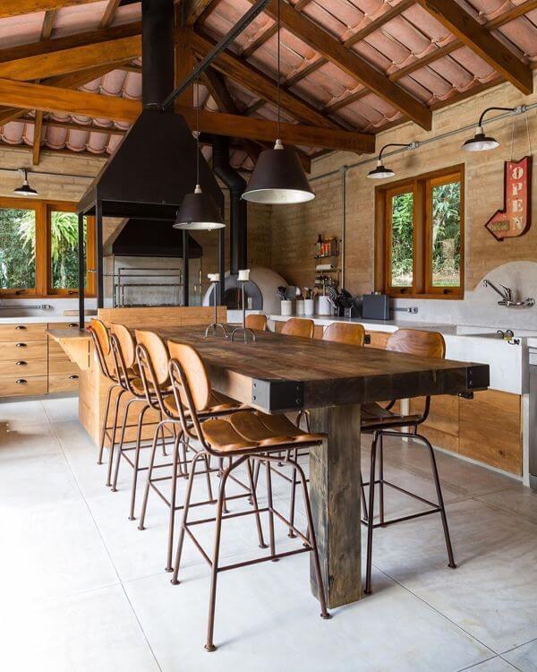 Cozinha de loft moderno