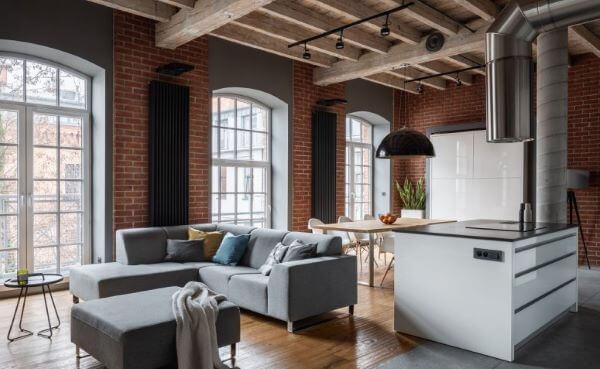 Decoração industrial para loft grande e moderno