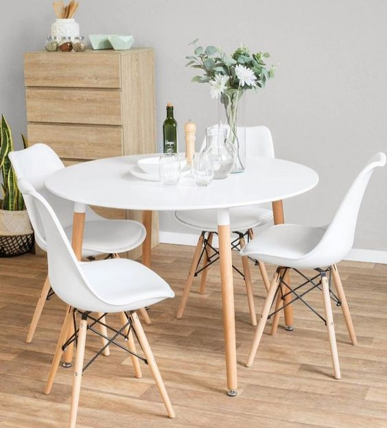 Mesa eiffel para sala de jantar branca