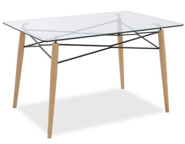 Mesa eiffel retangular com tampo de vidro para sala de jantar