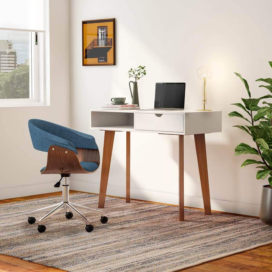 Escrivaninha com gaveta para decoração de home office simples Foto TokeStok