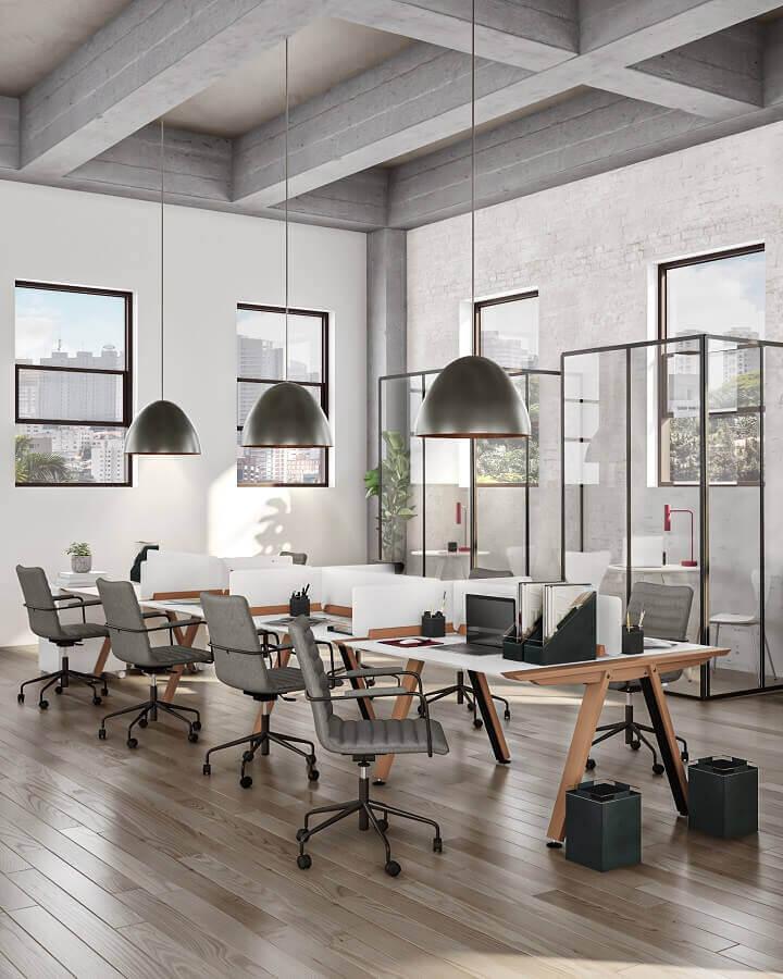 Decoração estilo industrial com mesa estação de trabalho Foto Tok&Stok