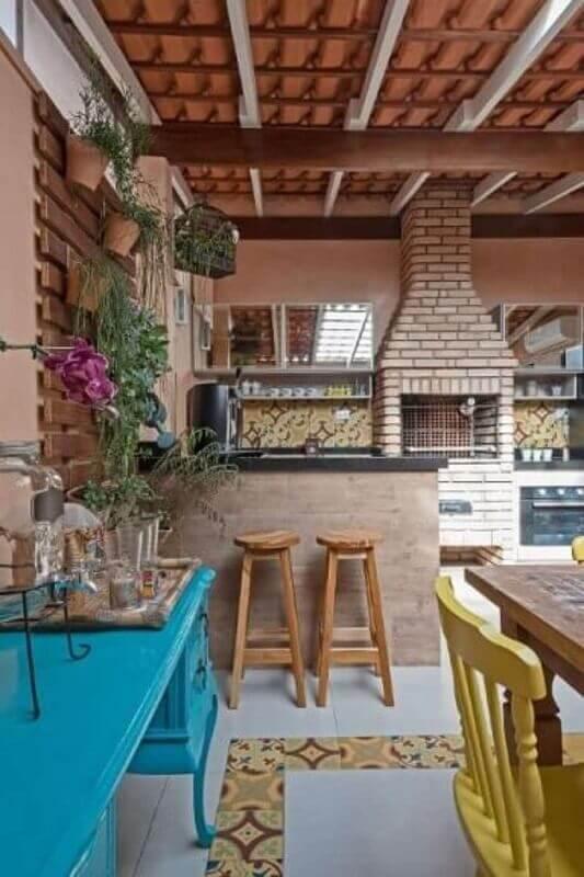 Churrasqueira de tijolinho para decoração de área gourmet simples Foto Decor Fácil