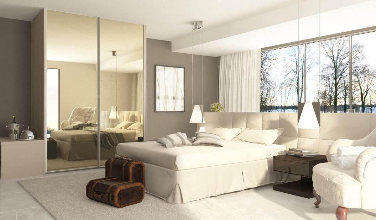 espelho para quarto - quarto de casal com guarda roupa espelhado