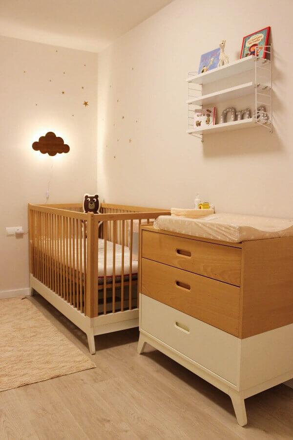Cômoda gaveteiro para quarto de bebê decorado em cores neutras Foto Móveis Henn