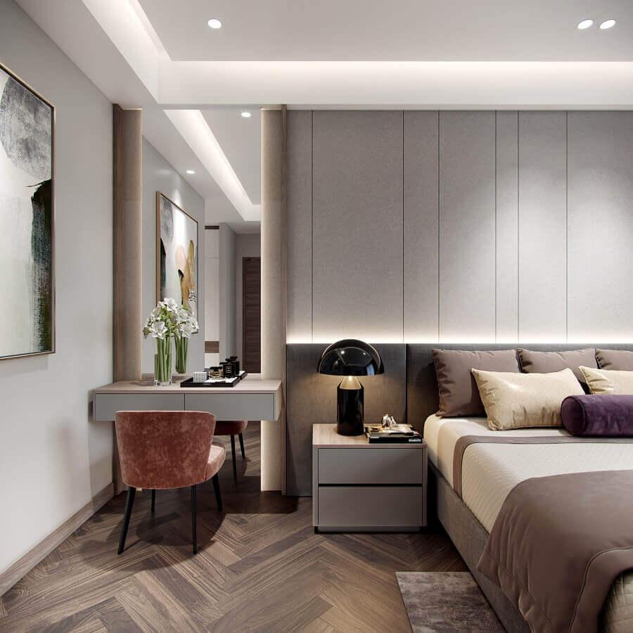 Gaveteiro pequeno para quarto cinza moderno decorado com penteadeira suspensa Foto Behance