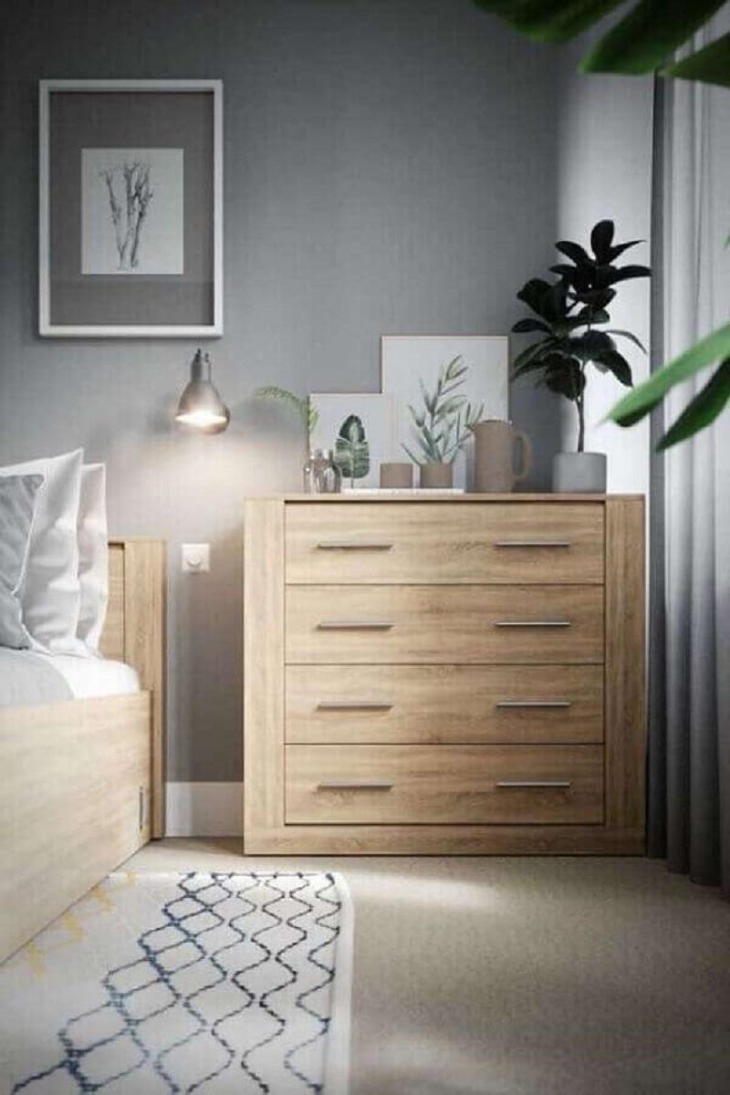 Tons de cinza para decoração com cômoda gaveteiro para quarto de casal Foto Behance