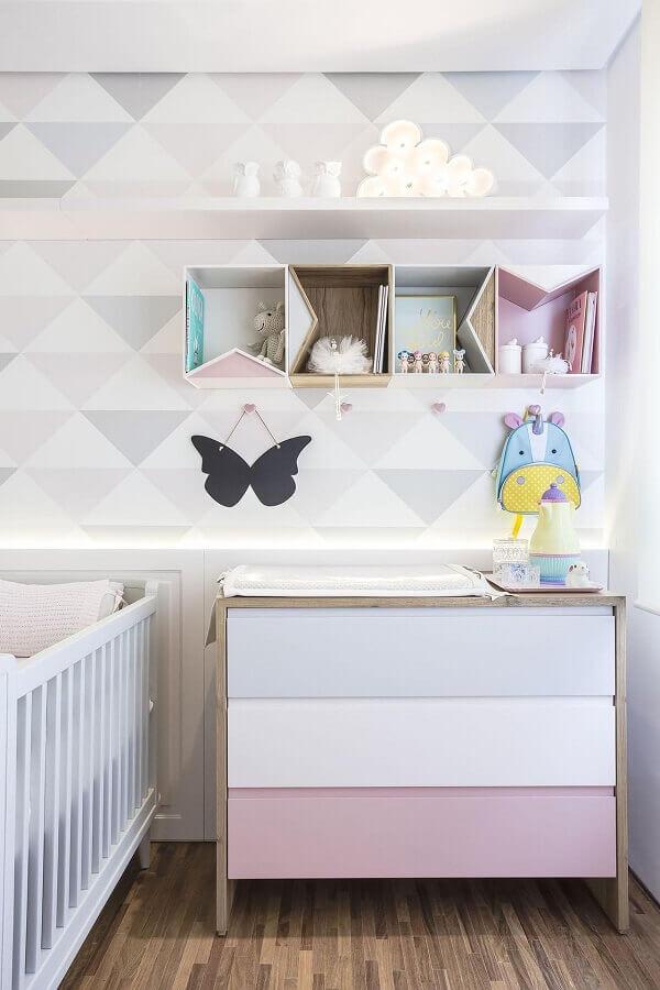 Tons pastéis para decoração com cômoda gaveteiro para quarto de bebe Foto Studio Open House