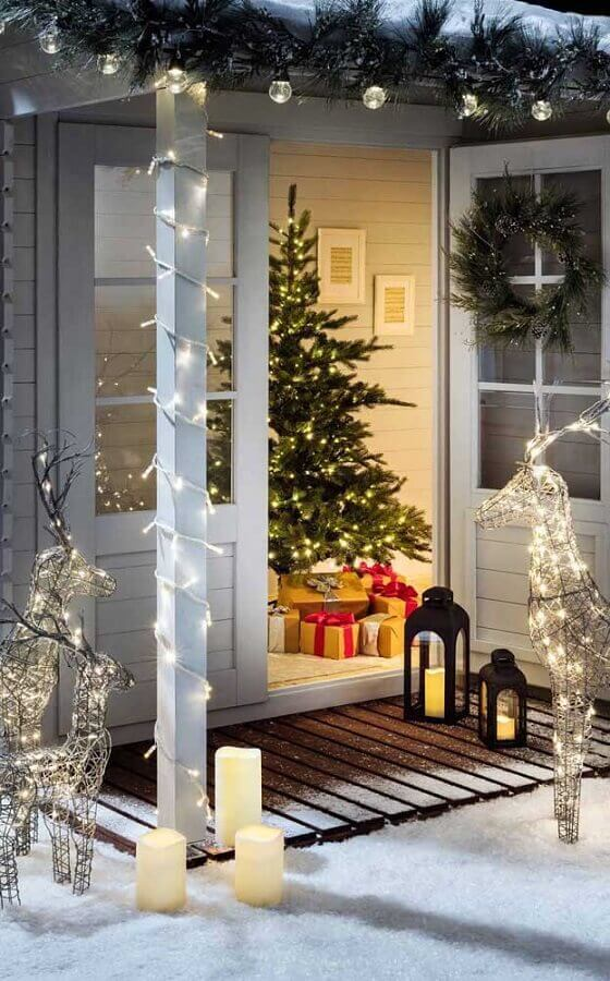 Enfeites de Natal com luzes para decoração de mesa rústica Foto Decor Fácil