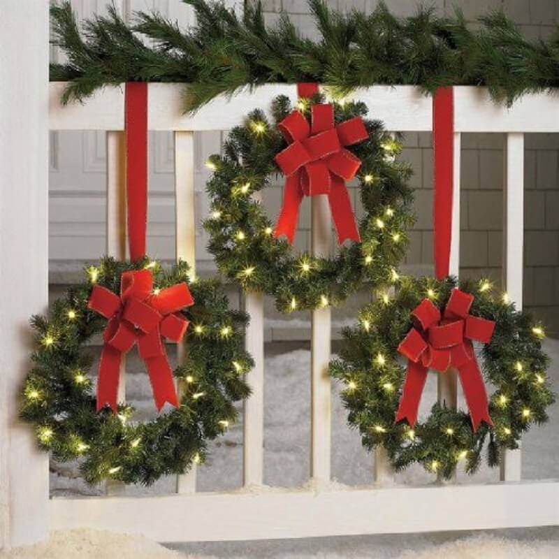 guirlandas decoradas com luzes de natal Foto Pinterest