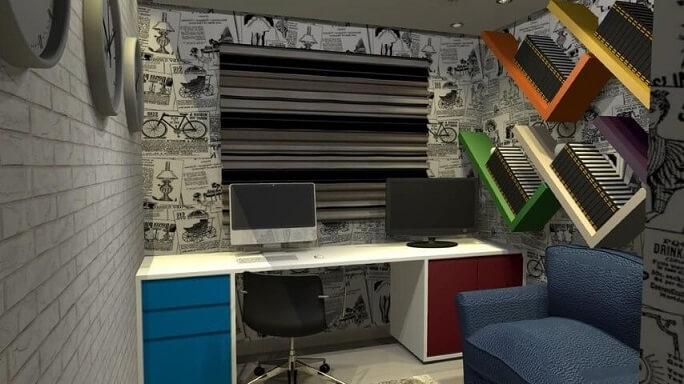 Home office com papel de parede 3D de tijolinhos Projeto de Rafael Cunha