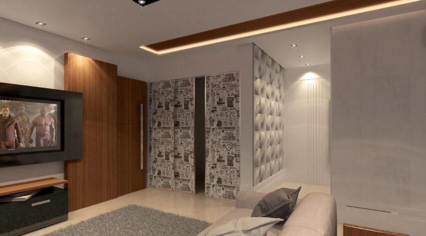 Corredor com papel de parede 3D Projeto de Raduan Arquitetura