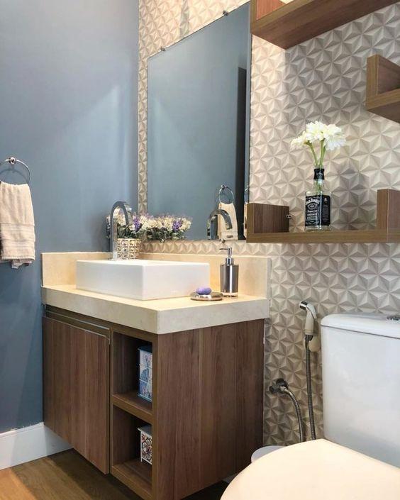 papel de parede 3d - banheiro com papel de parede 3d