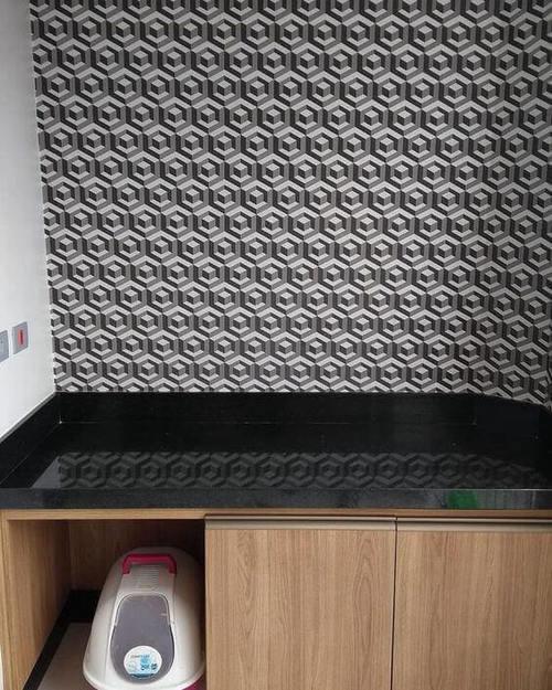 papel de parede 3d - papel de parede 3d em bancada de cozinha