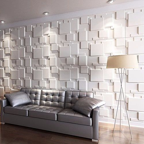 papel de parede 3d - sala de estar com papel de parede 3d branco