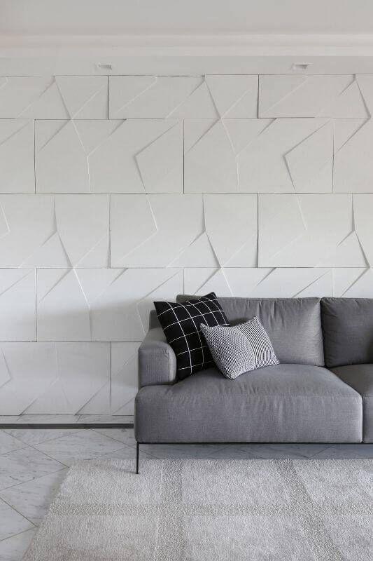 papel de parede 3d - sala de estar com papel de parede 3d em gesso