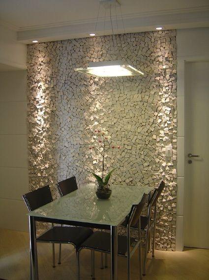 papel de parede 3d - sala de jantar com papel de parede 3d luxuoso