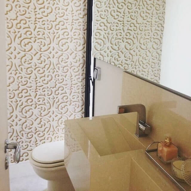 Lavabo com papel de parede 3D Projeto de Vivant Arquitetura