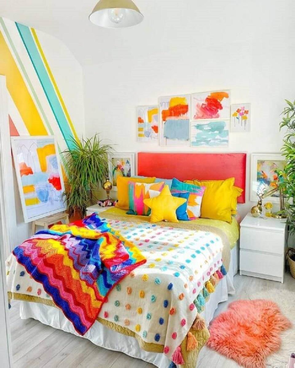 ideia de decoração para quarto colorido de casal Foto Rowans Rainbow