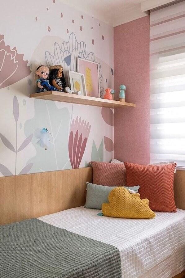 Papel de parede delicado para decoração de quarto de menina colorido Foto Casa 2 Arquitetos