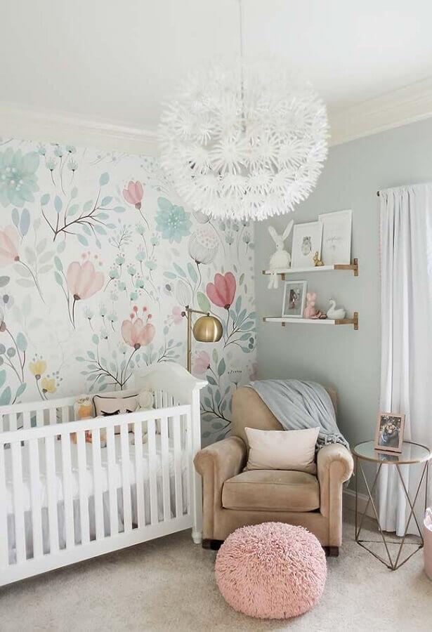 Papel de parede floral para decoração de quarto de bebe colorido em cores claras Foto Home Fashion Trend