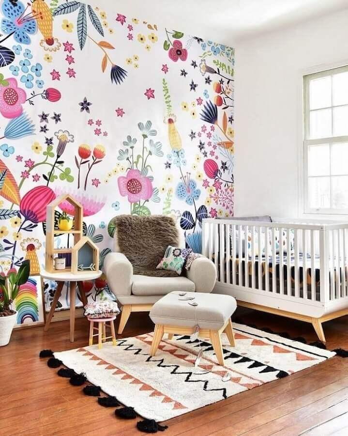 Papel de parede floral para decoração de quarto de bebe colorido Foto MOOUI